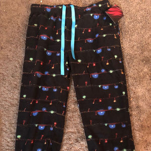 Holiday Lights Women's Fleece Lounge Pants size L